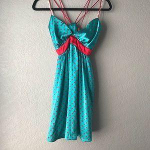 Voom mini polka dot silk dress.